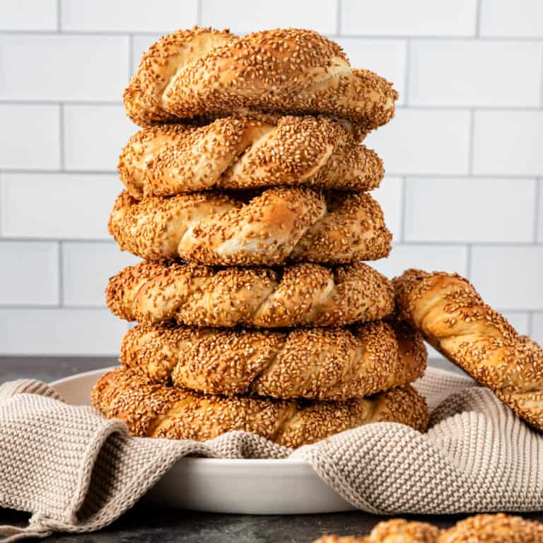 tower of simit turkish bread in a bowl