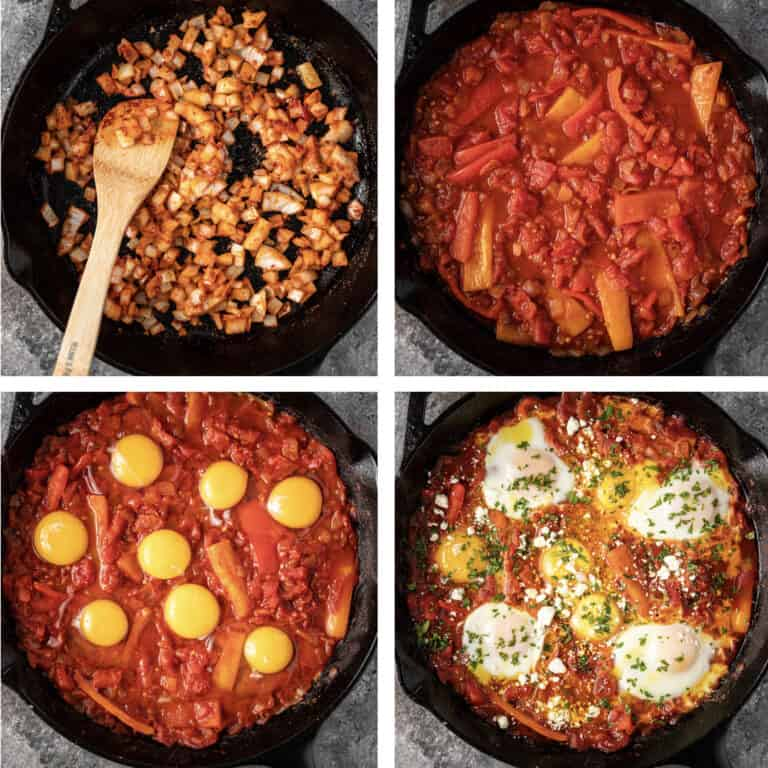 4-photo collage shows process of making shakshuka in tomato sauce