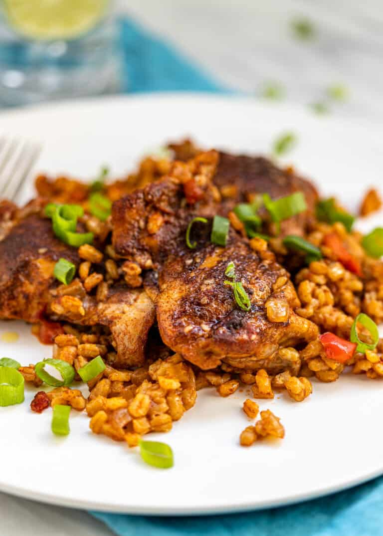 (close up) Moroccan spiced chicken thighs and barley on white plate