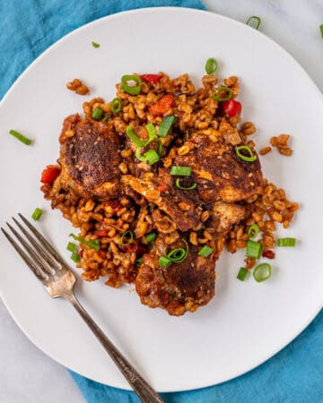overhead: Moroccan spiced chicken and barley on white plate with a fork
