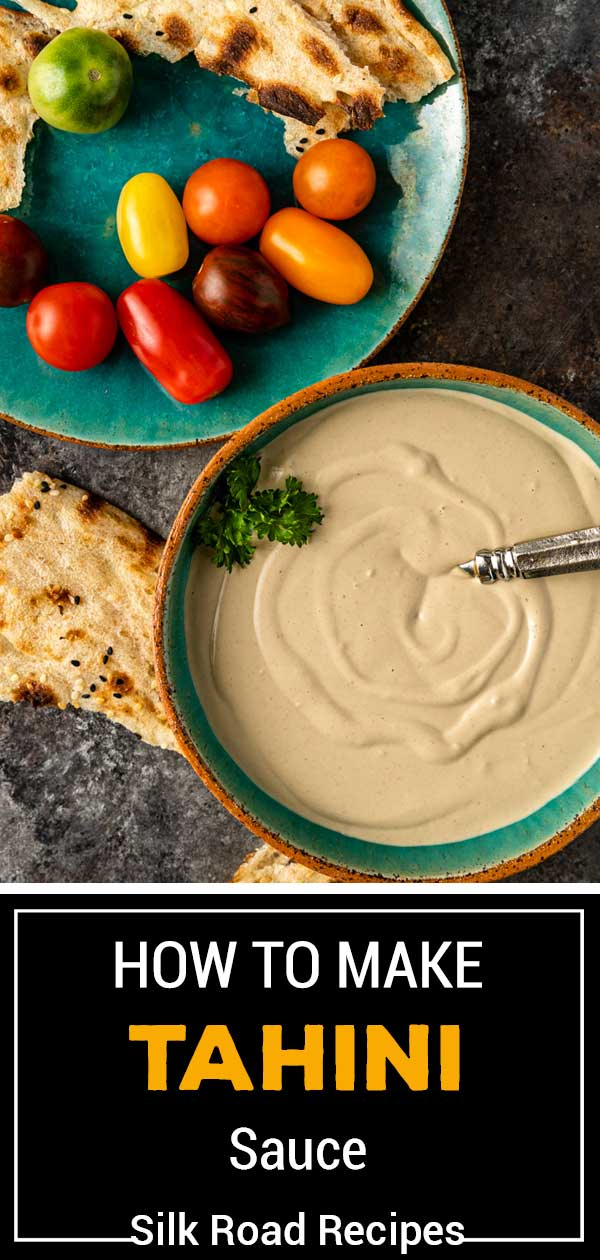 titled image for Pinterest (and shown): How to Make Tahini Sauce