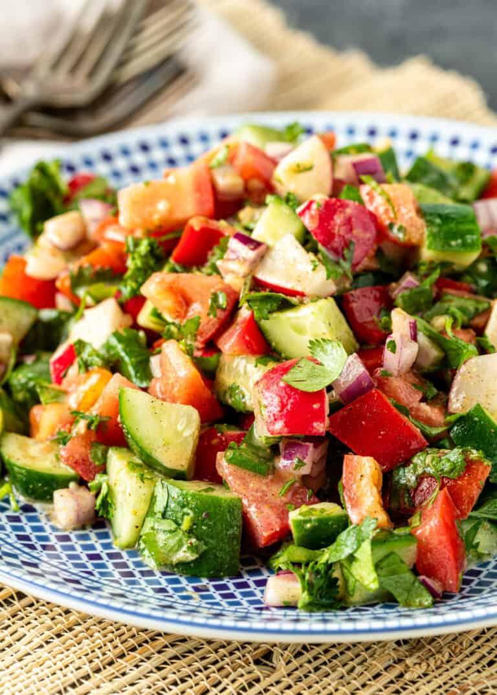 close up image of chopped veggie salad