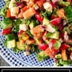 titled image shows Lebanese salad with creamy lemon dressing