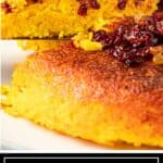 titled image (and shown close up): Tachin Baked Saffron Rice