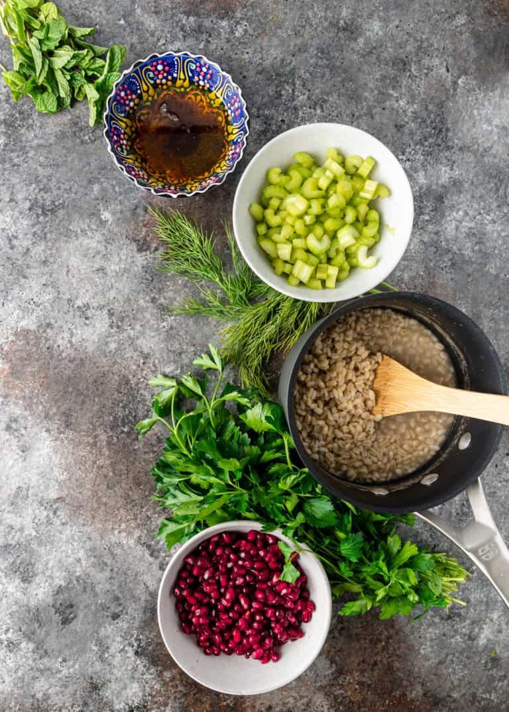 ingredients to make pomegranate barley salad