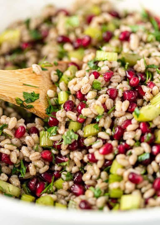 close up image; barley salad