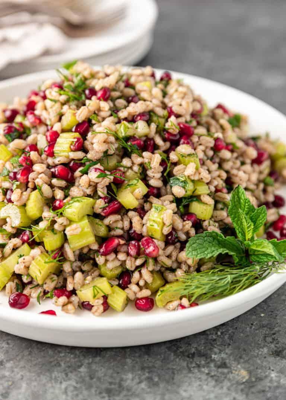 pomegranate barley salad on a white plate; close up image