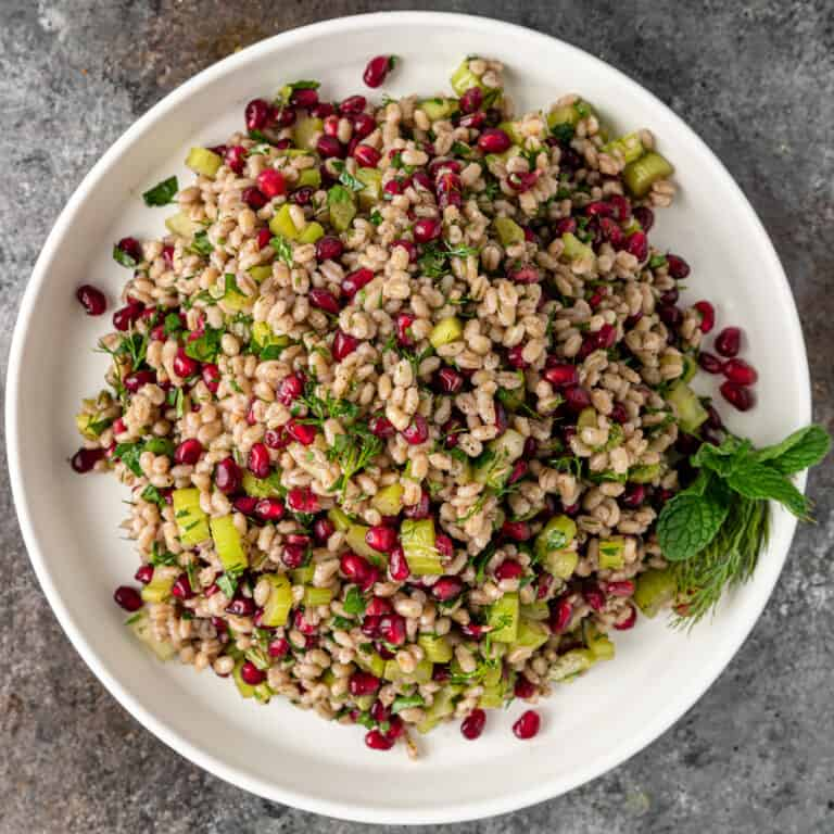 overhead image barley salad on a white plate with pomegranates