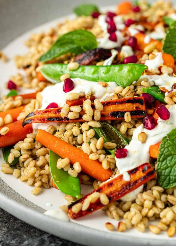 closeup of warm vegetable salad