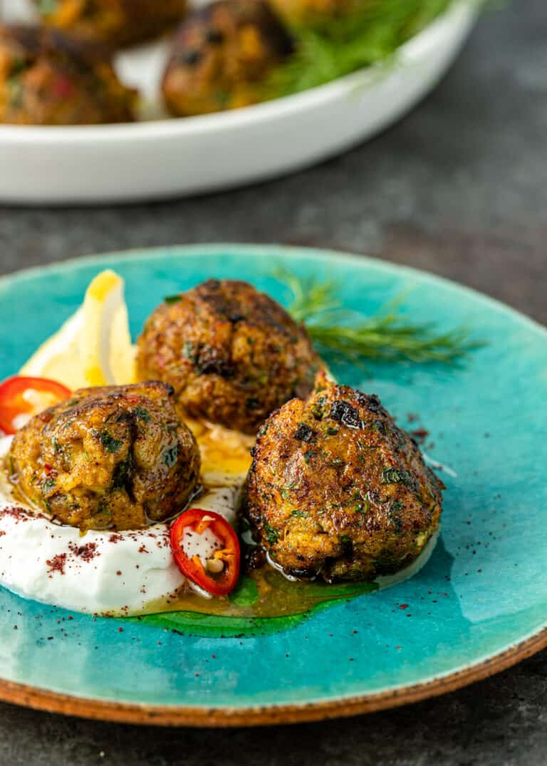 Middle Eastern dish of fish balls in homemade labneh