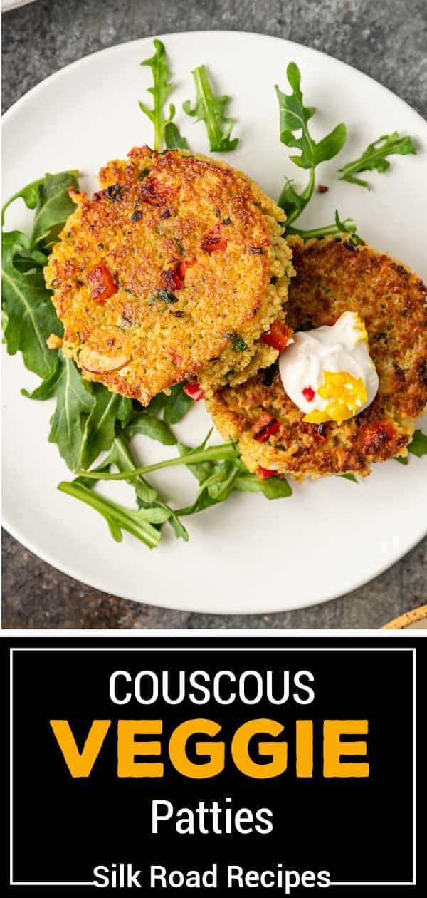 titled image for Pinterest (and shown): Fried Couscous Veggie Patties - Silk Road Recipes