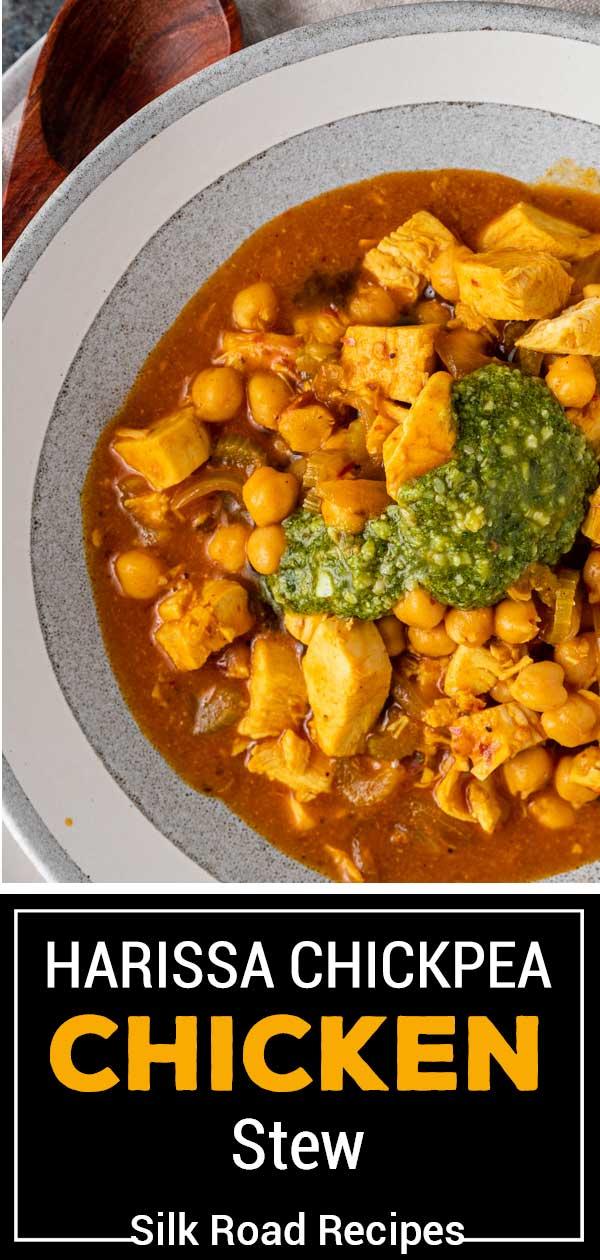 titled image; harissa chickpea chicken stew