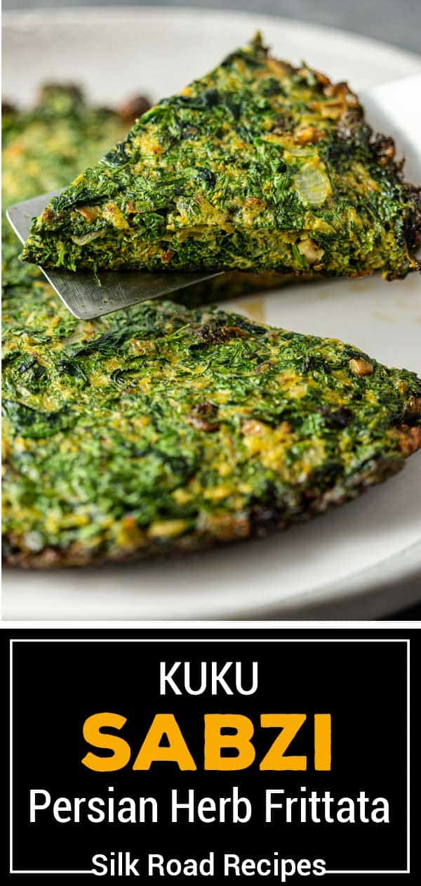 titled image shown: kuku sabzi Persian herb frittata