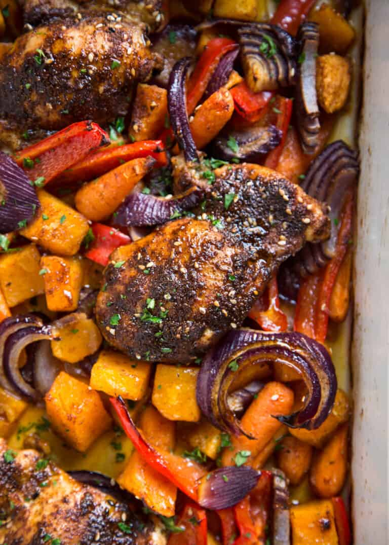 close up: roast chicken and lentils