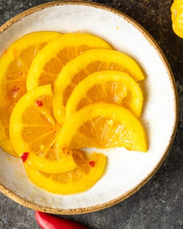 dish of lemon pickle slices