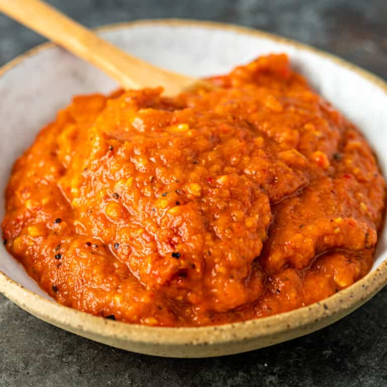 closeup image; Ajvar roasted red pepper relish in a bowl
