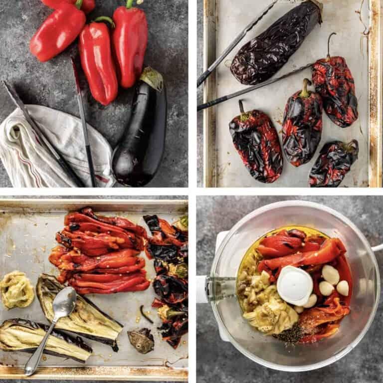 roasting red bell peppers to make Ajvar recipe