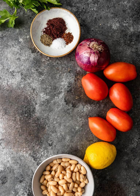 ingredients for Turkish white bean salad