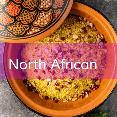 photo of couscous with North African written