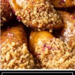 titled image for Pinterest (and shown close up): Middle Eastern Stuffed Pancakes (Qatayef)