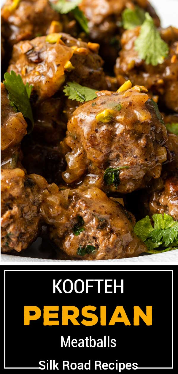 titled image shows close up of middle eastern meatballs known as Koofteh