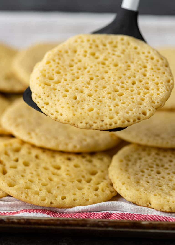 closeup: baghrir Moroccan pancake on spatula