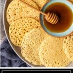 titled image for Pinterest shows platter of Moroccan pancakes with dish of honey in the center