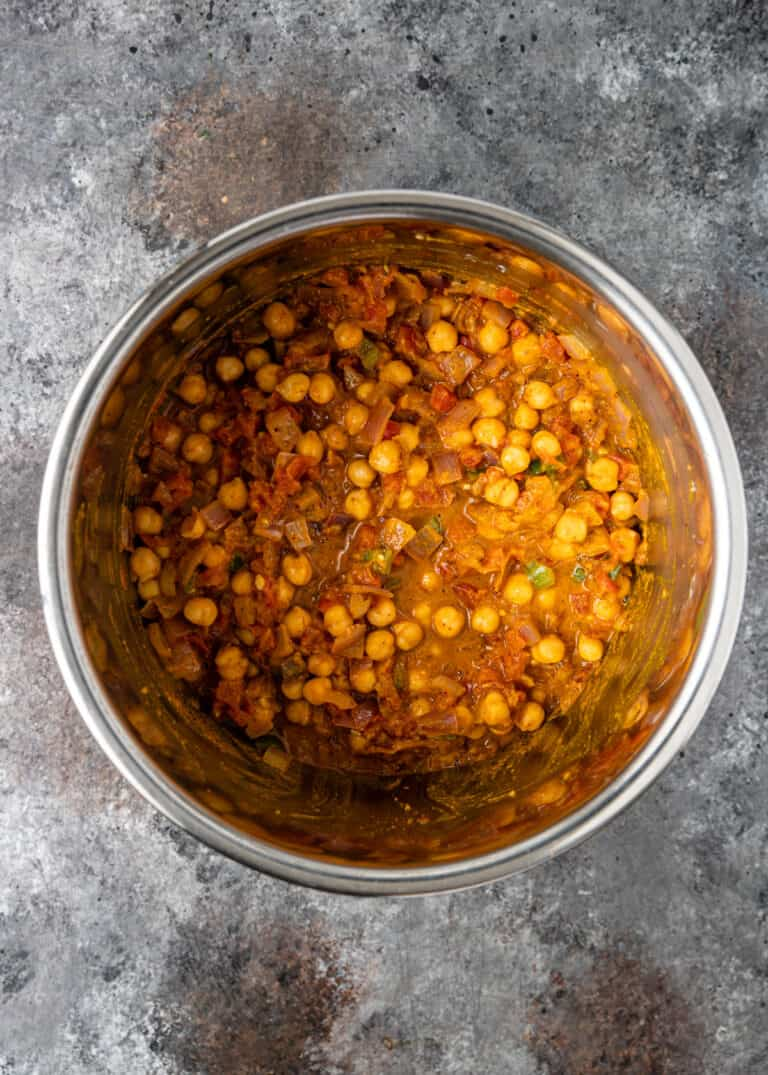 overhead: chana masala Instant Pot recipe cooking in large pot