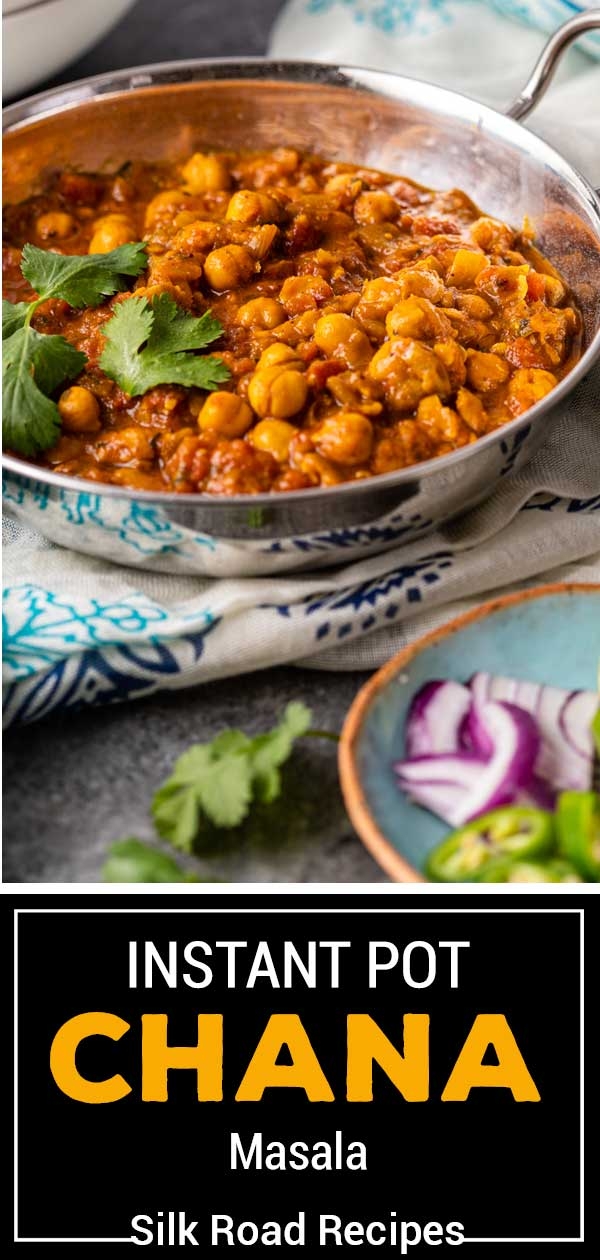 titled image (and shown in metal serving bowl): Instant Pot Chana Masala - Silk Road Recipes