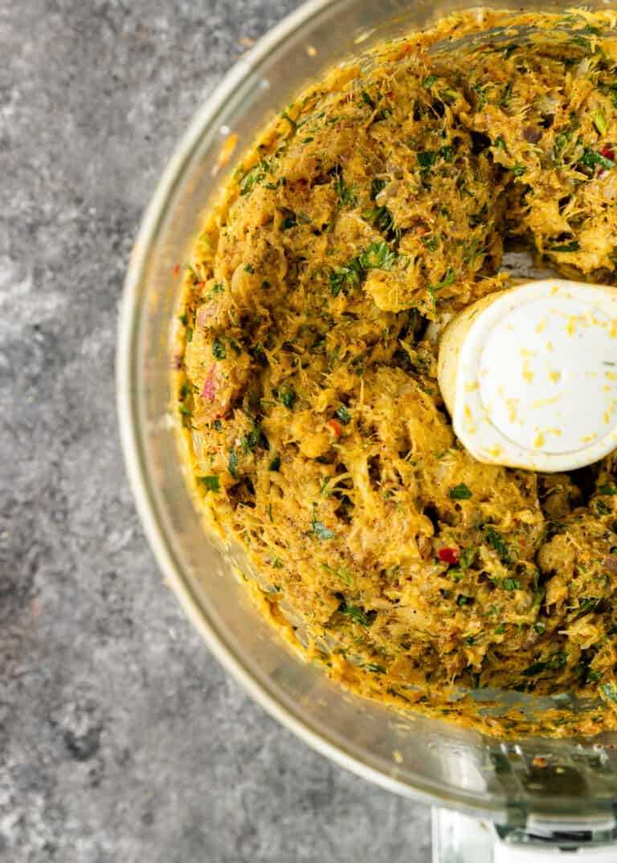 fish kofta mixture in bowl of food processor