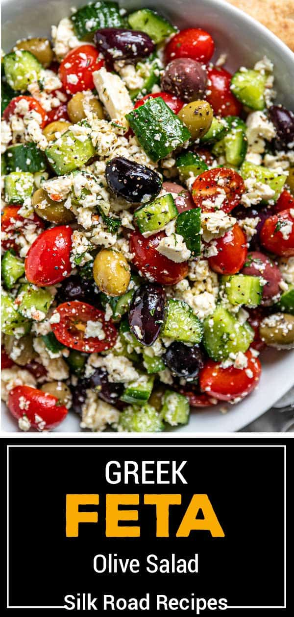 titled image for Pinterest (and shown on white plate): Greek Olive Salad - Silk Road Recipes