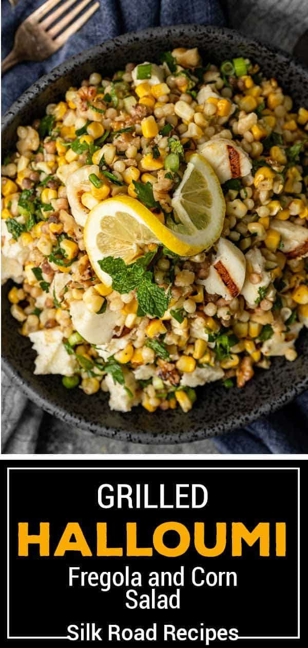 titled image (and shown in serving bowl): Fregola Salad with Grilled Halloumi