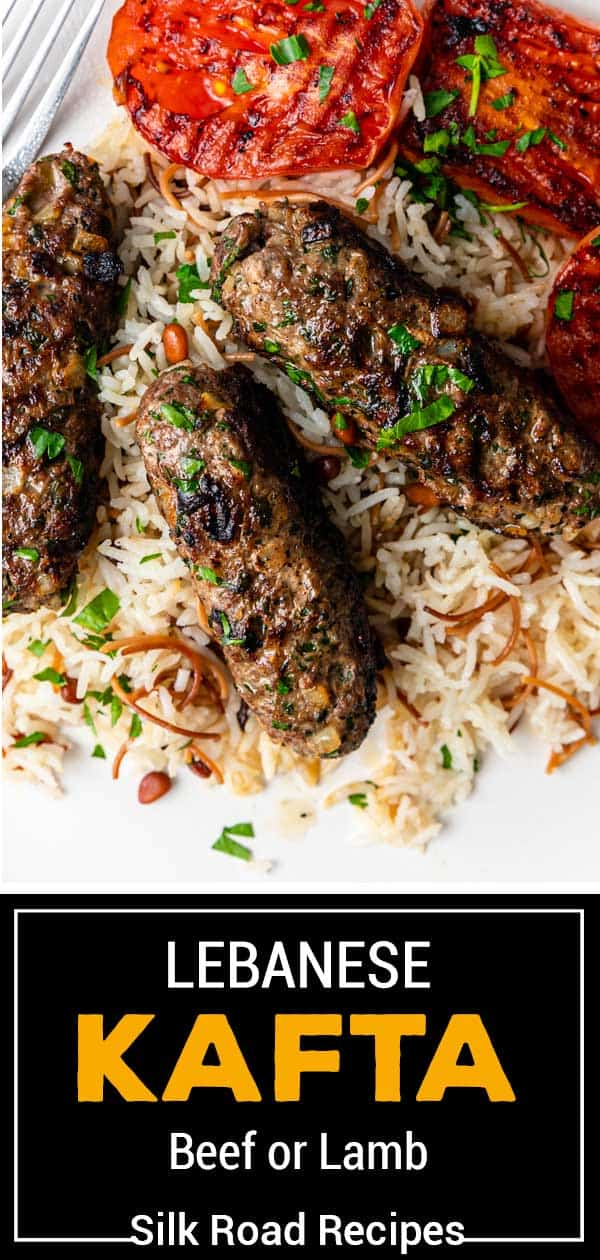 titled Pinterest image (and shown): Lebanese Kafta - Beef or Lamb - Silk Road Recipes