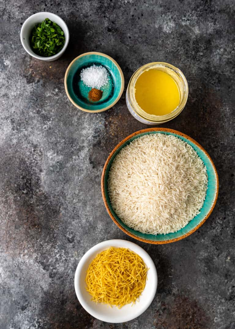 overhead: ingredients in bowls on counter to make middle eastern rice recipe