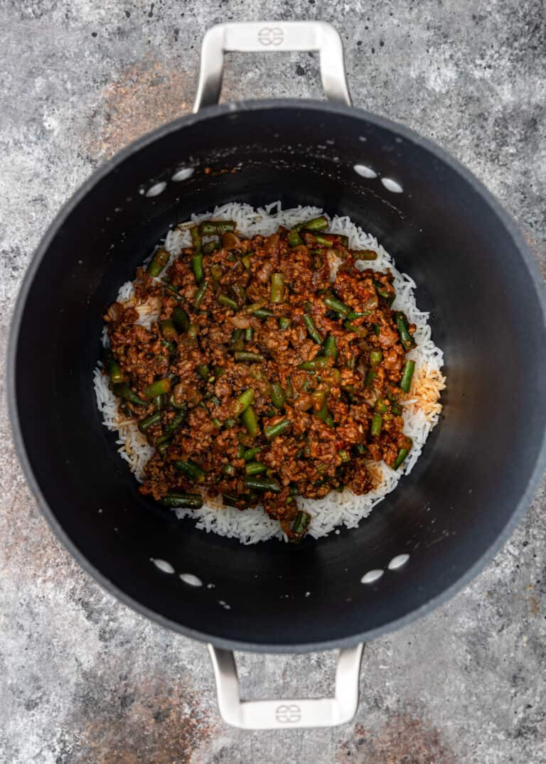 cooking ground beef rice in large pot