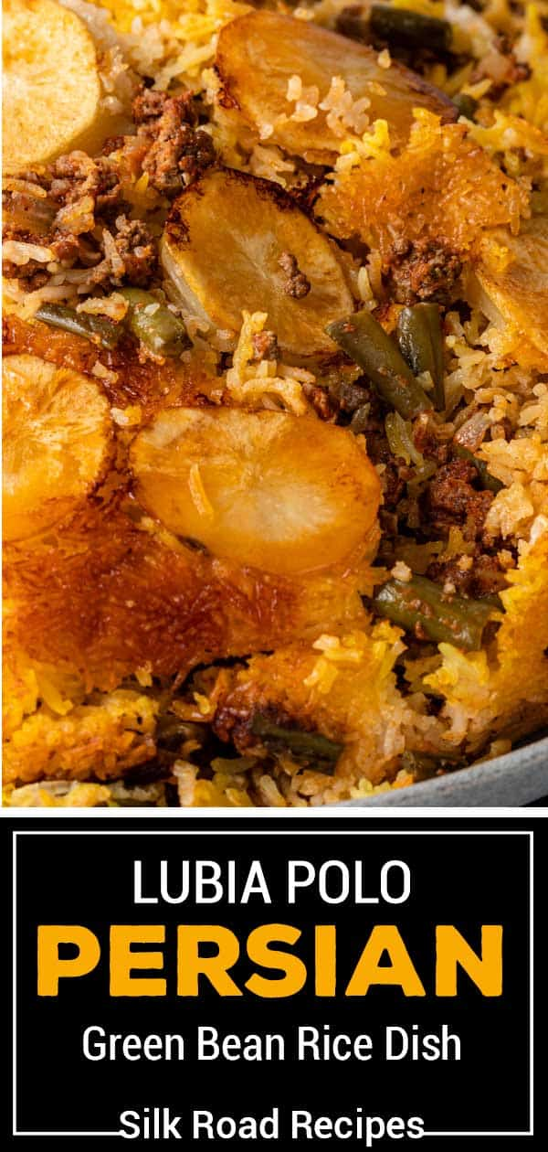 titled image (and shown close up): Lubia Polo: Persian Green Bean Rice Dish