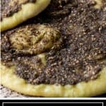 titled image for Pinterest (and shown close up): za'atar and cheese manakeesh recipe- silk road recipes