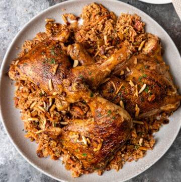 overhead: plate of crispy, golden kabsa
