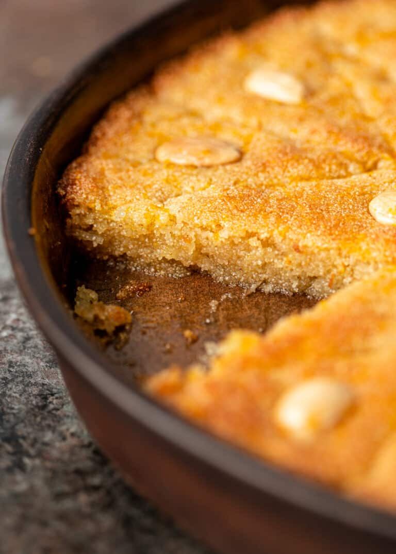 side view shows dense texture inside semolina four cake