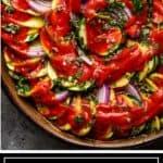 titled image for Pinterest shows Greek Briam arranged on round platter
