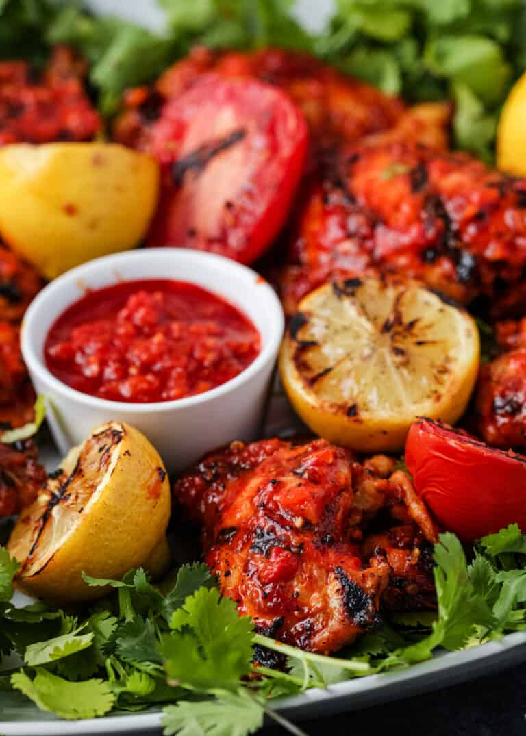 platter of spicy North African grilled chicken