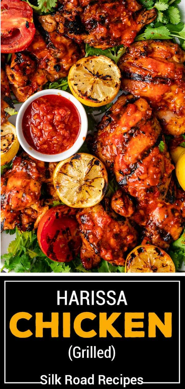 titled image shows spicy grilled chicken and grilled lemons with dish of harissa sauce