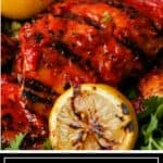 titled image for Pinterest: Harissa Chicken on the Grill - Silk Road Recipes
