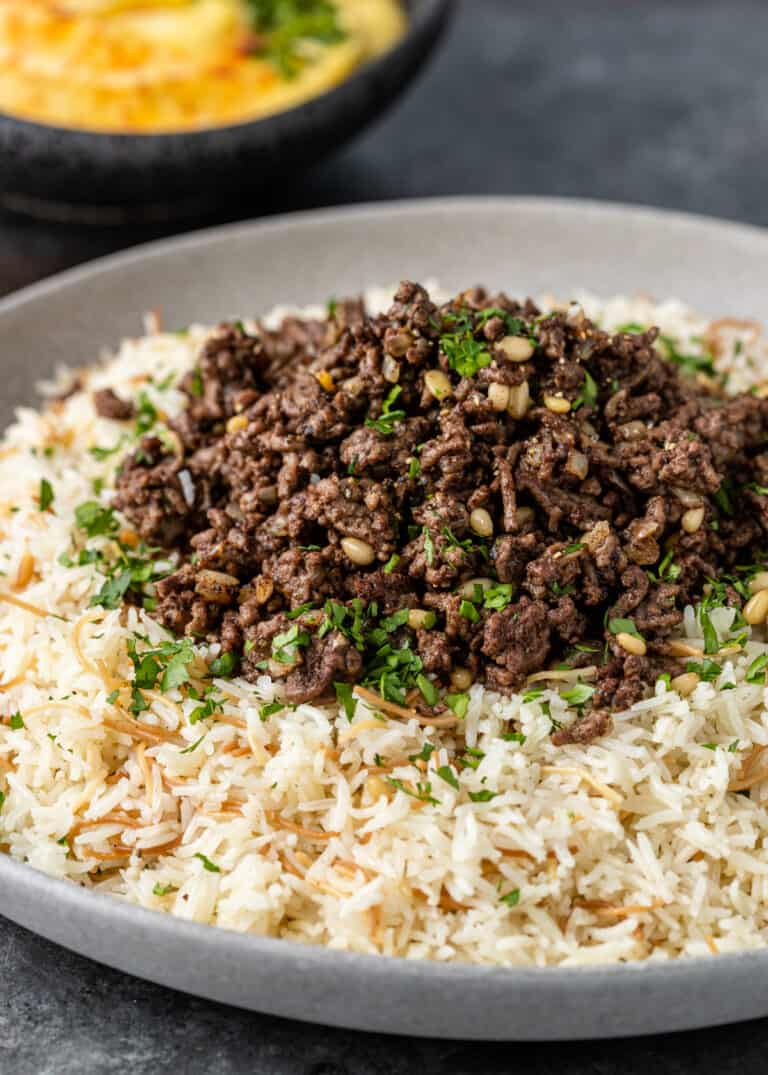plate of hushwee - Lebanese beef and rice with vermicelli