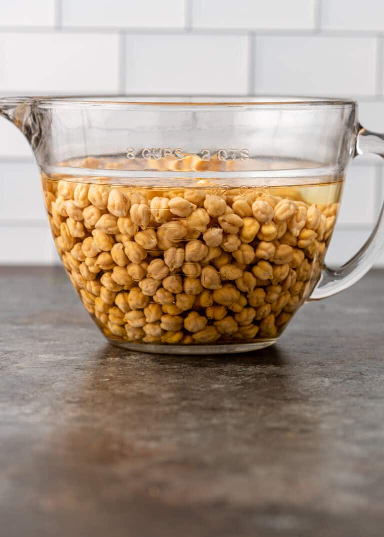 second step of how to cook chickpeas- chickpeas soaking in water