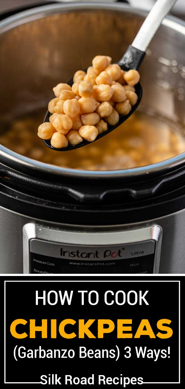 scoop of cooked chickpeas in an Instant Pot