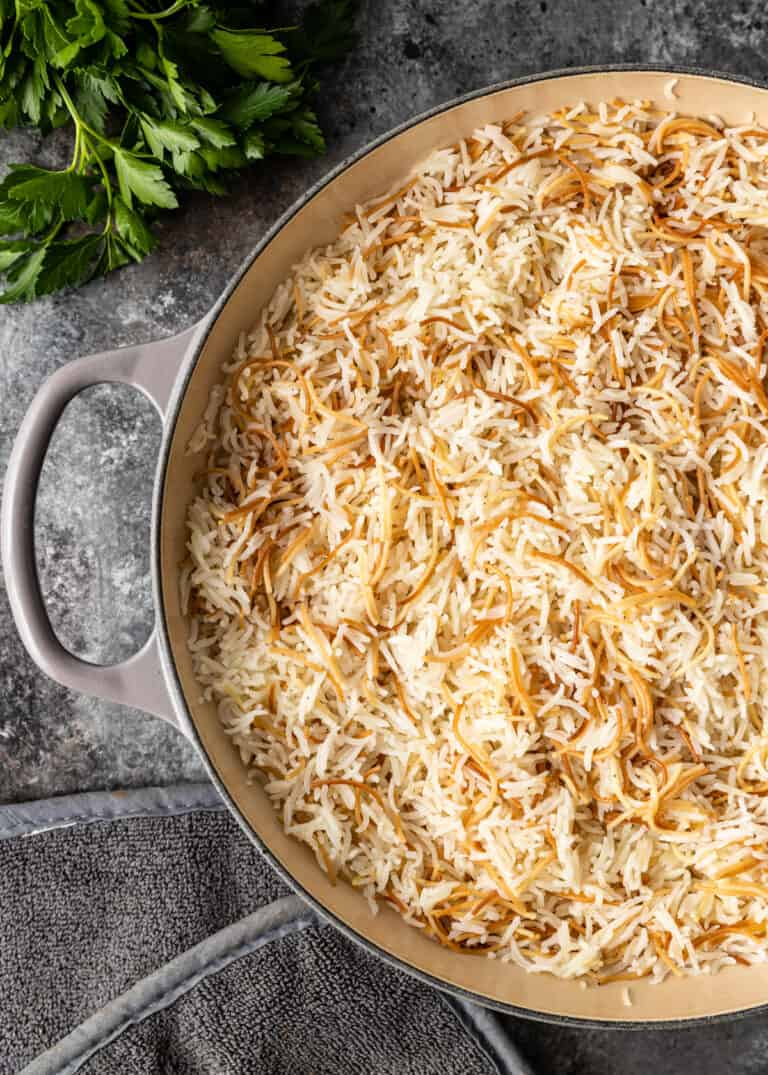 pan of arabic rice pilaf with vermicelli