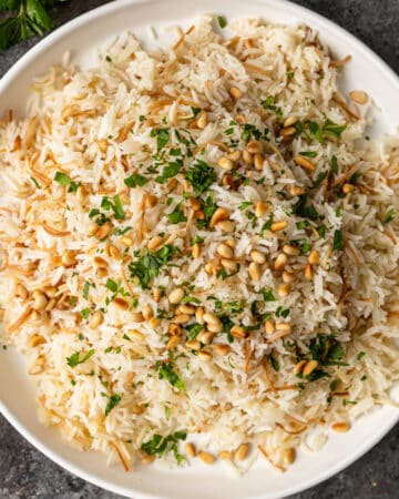 lebanese rice pilaf in white bowl