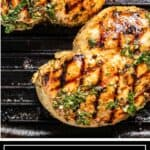 titled image shows grilled chicken breasts coated in Mediterranean chicken marinade