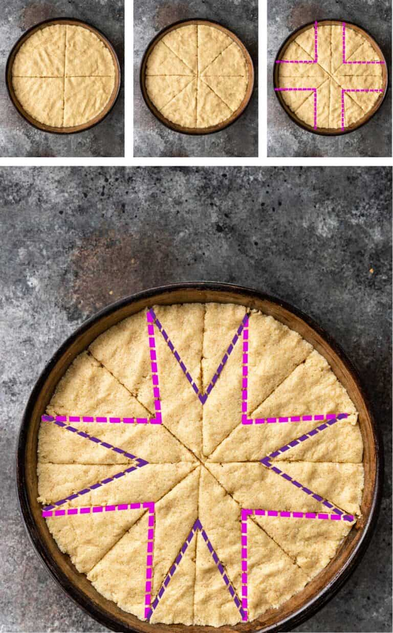 step by step photo collage shows how to cut star design into a farina cake